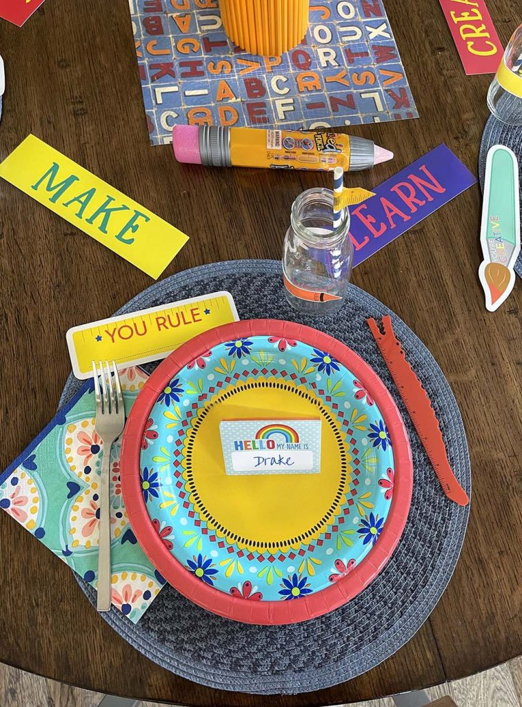 Placesetting for back to school party