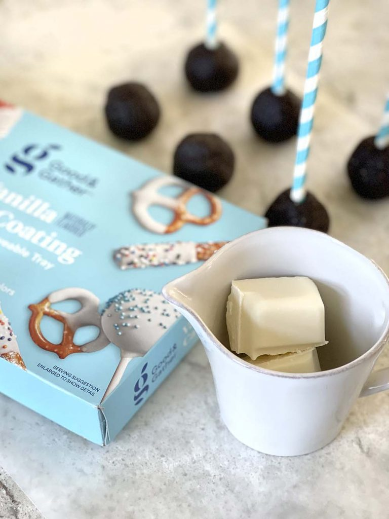 White chocolate squares for dipping date balls
