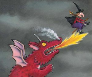 Red dragon from Room on the Broom