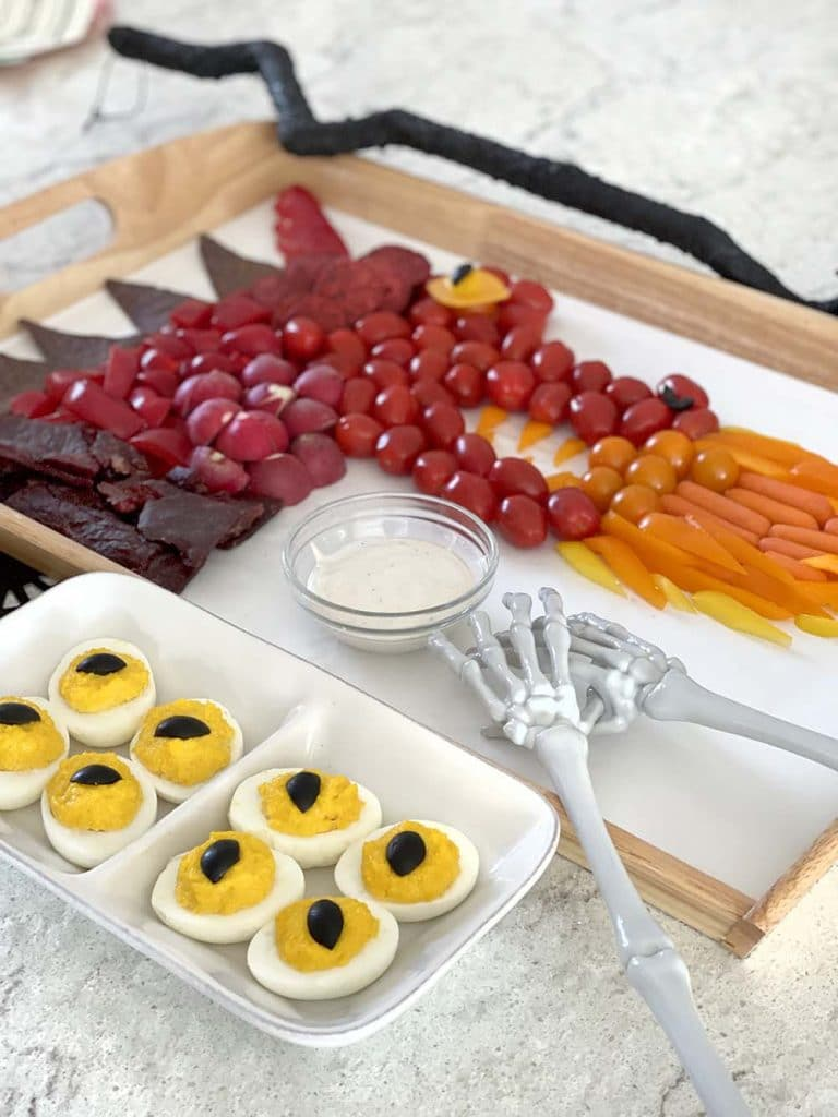 Dragon veggie tray and eyes for Halloween party food