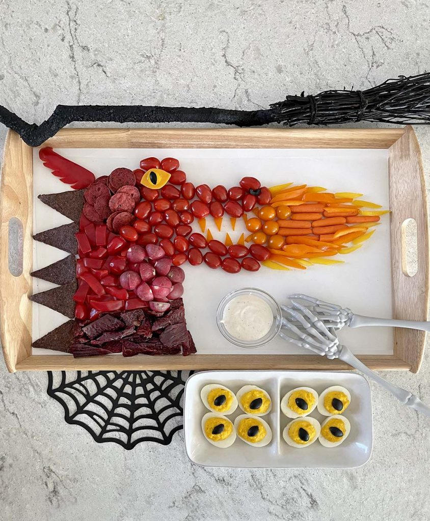 Dragon veggie tray and Dragon eyes for Dragon Party