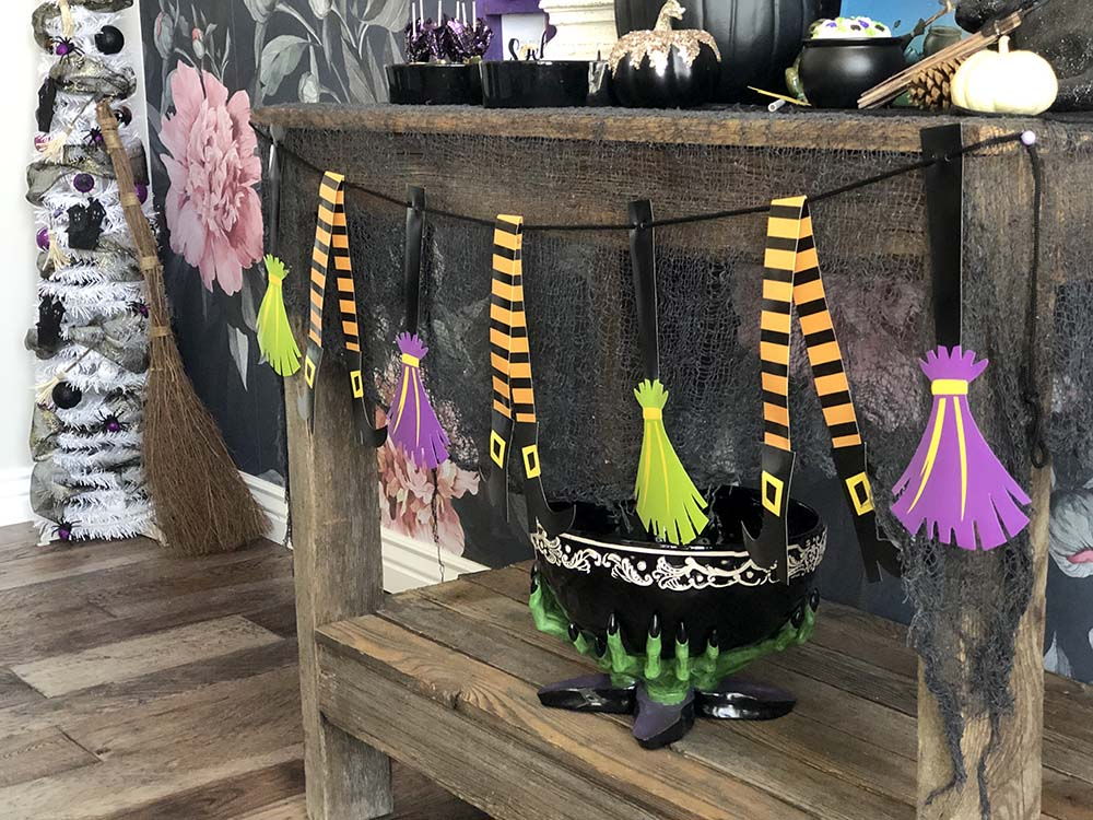 Witch banner for a Halloween party display table