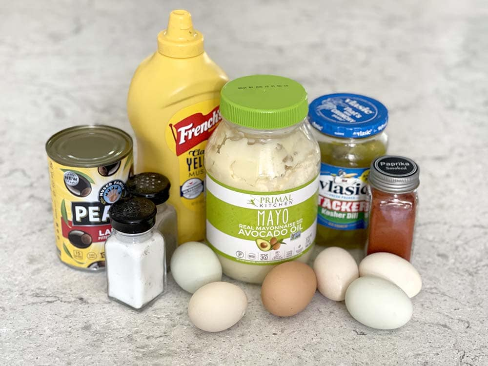 Ingredients on counter for for making deviled eggs