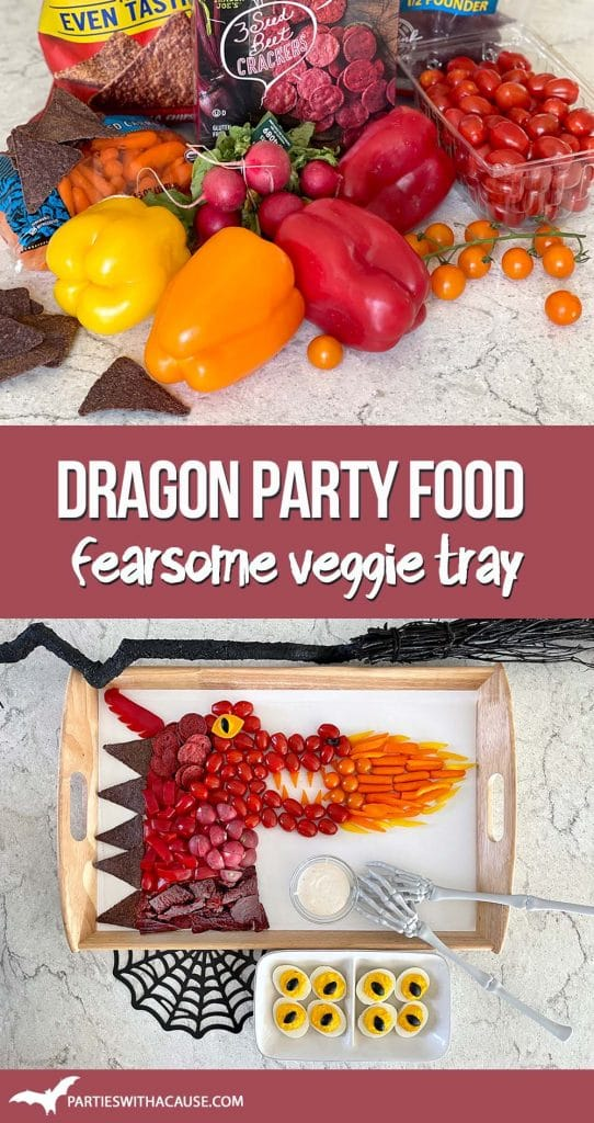 Dragon party food - fearsome veggie tray by Salt Lake party stylist