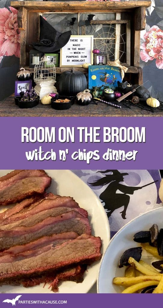 Room on the Broom Witch n chips dinner by Salt Lake party stylist