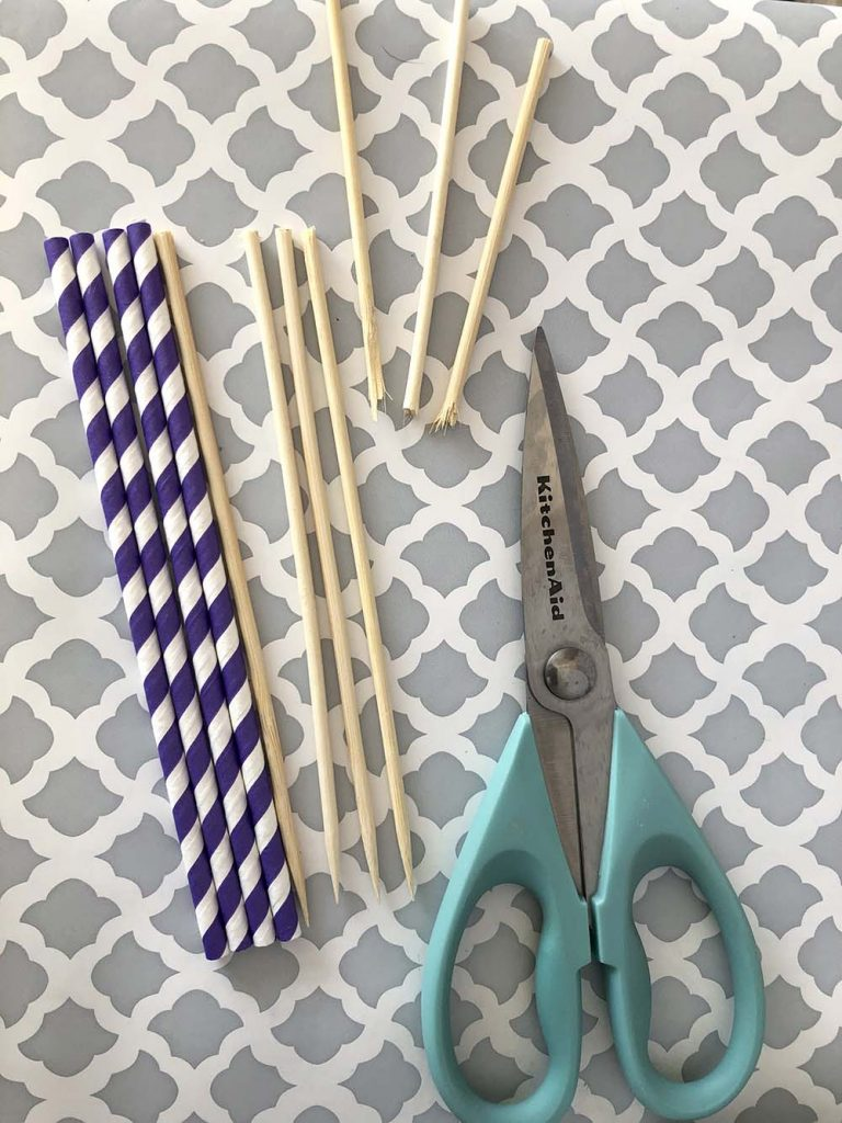 Straws and skewers for fruit wands