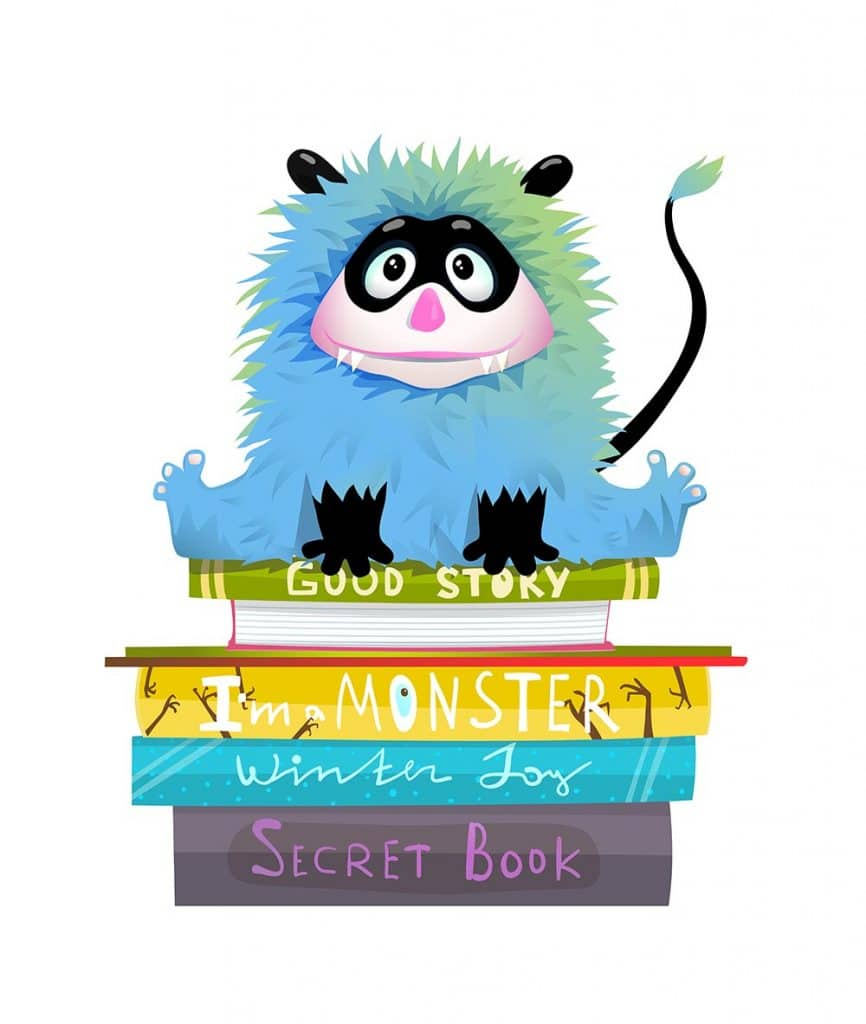 Drawings of Monster on stack of Halloween books