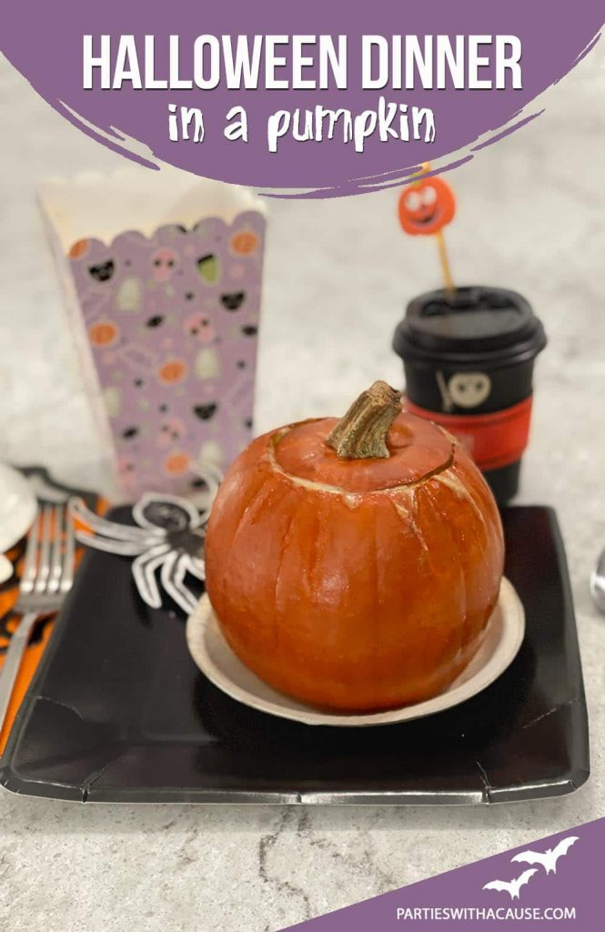 Dinner cooked inside a pumpkin and on a plate for Halloween